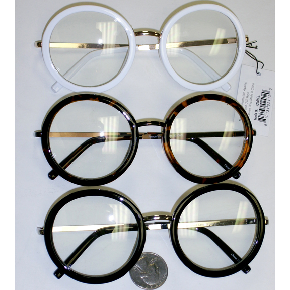 CLEAR LENS, ROUND  PLASTC FRONT, METAL ARMS GLASSES
